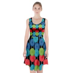 Vibrant Retro Pattern Racerback Midi Dress