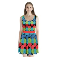 Vibrant Retro Pattern Split Back Mini Dress