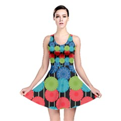 Vibrant Retro Pattern Reversible Skater Dress