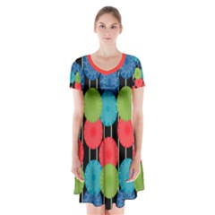 Vibrant Retro Pattern Short Sleeve V Neck Flare Dress