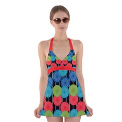 Vibrant Retro Pattern Halter Swimsuit Dress