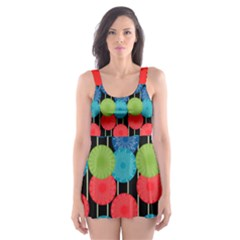 Vibrant Retro Pattern Skater Dress Swimsuit