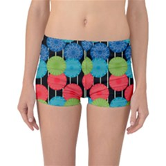 Vibrant Retro Pattern Reversible Boyleg Bikini Bottoms