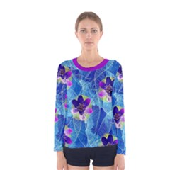 Purple Flowers Women s Long Sleeve Tee