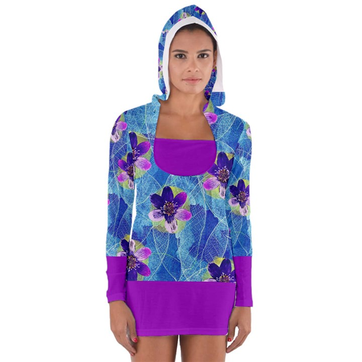 Purple Flowers Women s Long Sleeve Hooded T-shirt