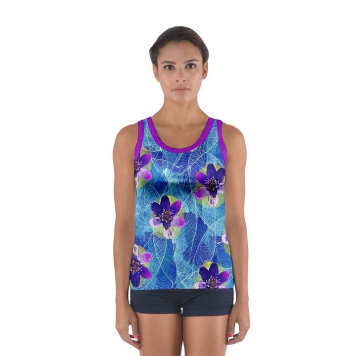 Purple Flowers Women s Sport Tank Top