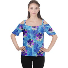 Purple Flowers Women s Cutout Shoulder Tee by DanaeStudio