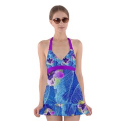 Purple Flowers Halter Swimsuit Dress by DanaeStudio