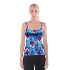 Purple Flowers Spaghetti Strap Top by DanaeStudio