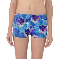Purple Flowers Boyleg Bikini Bottoms