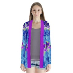 Purple Flowers Drape Collar Cardigan