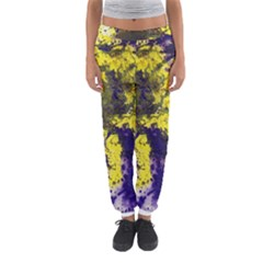 Yellow And Purple Splatter Paint Pattern Women s Jogger Sweatpants