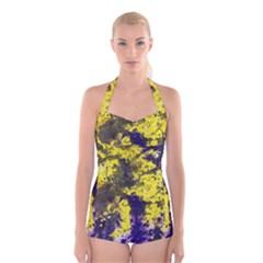 Yellow And Purple Splatter Paint Pattern Boyleg Halter Swimsuit  by traceyleeartdesigns