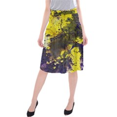 Yellow And Purple Splatter Paint Pattern Midi Beach Skirt