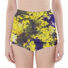 Yellow And Purple Splatter Paint Pattern High-Waisted Bikini Bottoms by traceyleeartdesigns