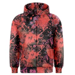 Pink And Black Abstract Splatter Paint Pattern Men s Zipper Hoodie by traceyleeartdesigns