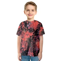 Pink And Black Abstract Splatter Paint Pattern Kid s Sport Mesh Tee by traceyleeartdesigns