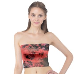 Pink And Black Abstract Splatter Paint Pattern Tube Top
