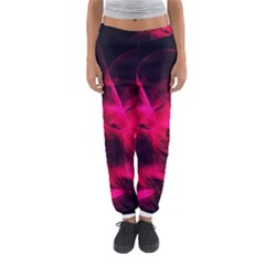 Pink Flame Fractal Pattern Women s Jogger Sweatpants by traceyleeartdesigns