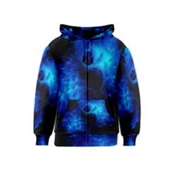 Blue Universe Fractal Pattern Kids  Zipper Hoodie by traceyleeartdesigns