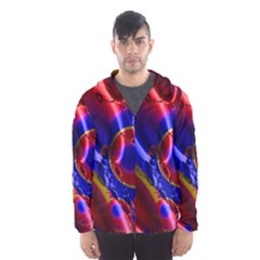 Pink Blue And Red Globe Hooded Wind Breaker (Men) by traceyleeartdesigns