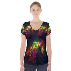 Bright Multi Coloured Fractal Pattern Short Sleeve Front Detail Top by traceyleeartdesigns
