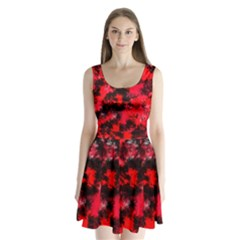 Black And Red Pattern Split Back Mini Dress