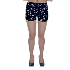 Black And White Starry Pattern Skinny Shorts