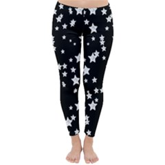 Black And White Starry Pattern Winter Leggings
