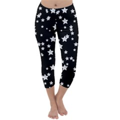 Black And White Starry Pattern Capri Winter Leggings