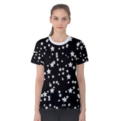 Black And White Starry Pattern Women s Cotton Tee by DanaeStudio