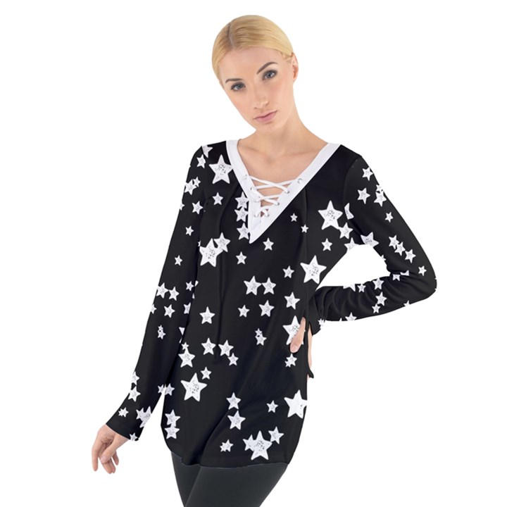 Black and White Starry Pattern Women s Tie Up Tee