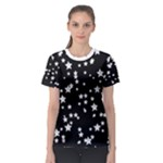 Black and White Starry Pattern Women s Sport Mesh Tee