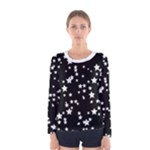 Black and White Starry Pattern Women s Long Sleeve Tee