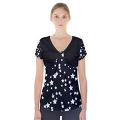 Black And White Starry Pattern Short Sleeve Front Detail Top by DanaeStudio