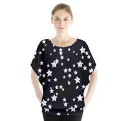 Black And White Starry Pattern Batwing Chiffon Blouse by DanaeStudio