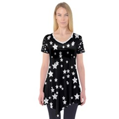 Black And White Starry Pattern Short Sleeve Tunic  by DanaeStudio