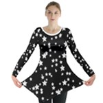 Black and White Starry Pattern Long Sleeve Tunic