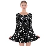 Black and White Starry Pattern Long Sleeve Skater Dress