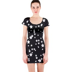 Black And White Starry Pattern Short Sleeve Bodycon Dress