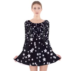Black And White Starry Pattern Long Sleeve Velvet Skater Dress