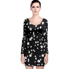 Black And White Starry Pattern Long Sleeve Velvet Bodycon Dress by DanaeStudio