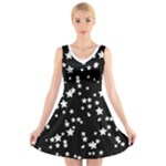 Black and White Starry Pattern V-Neck Sleeveless Dress