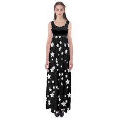 Black And White Starry Pattern Empire Waist Maxi Dress