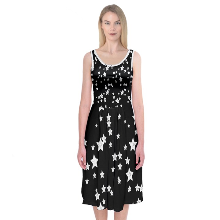 Black and White Starry Pattern Midi Sleeveless Dress