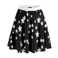 Black And White Starry Pattern High Waist Skirt