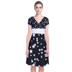 Black And White Starry Pattern Short Sleeve Front Wrap Dress