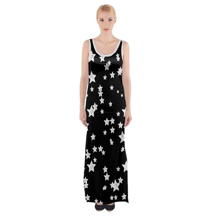 Black and White Starry Pattern Maxi Thigh Split Dress