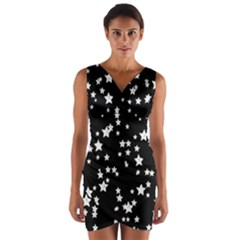 Black And White Starry Pattern Wrap Front Bodycon Dress