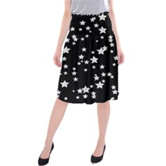 Black And White Starry Pattern Midi Beach Skirt